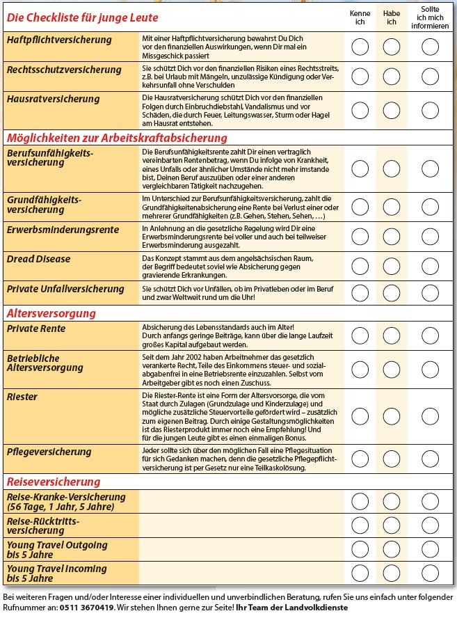 Checkliste für junge Leute